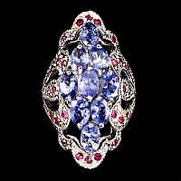 Серебряное кольцо с танзанитом и рубином