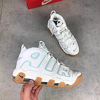 Кроссовки Nike Air More Uptempo White/Gum. Живое фото (Реплика ААА+)