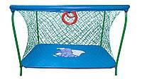 Манеж детский игровой KinderBox люкс Темно-голубой, слоник с крупной сеткой.(km 5518), фото 1