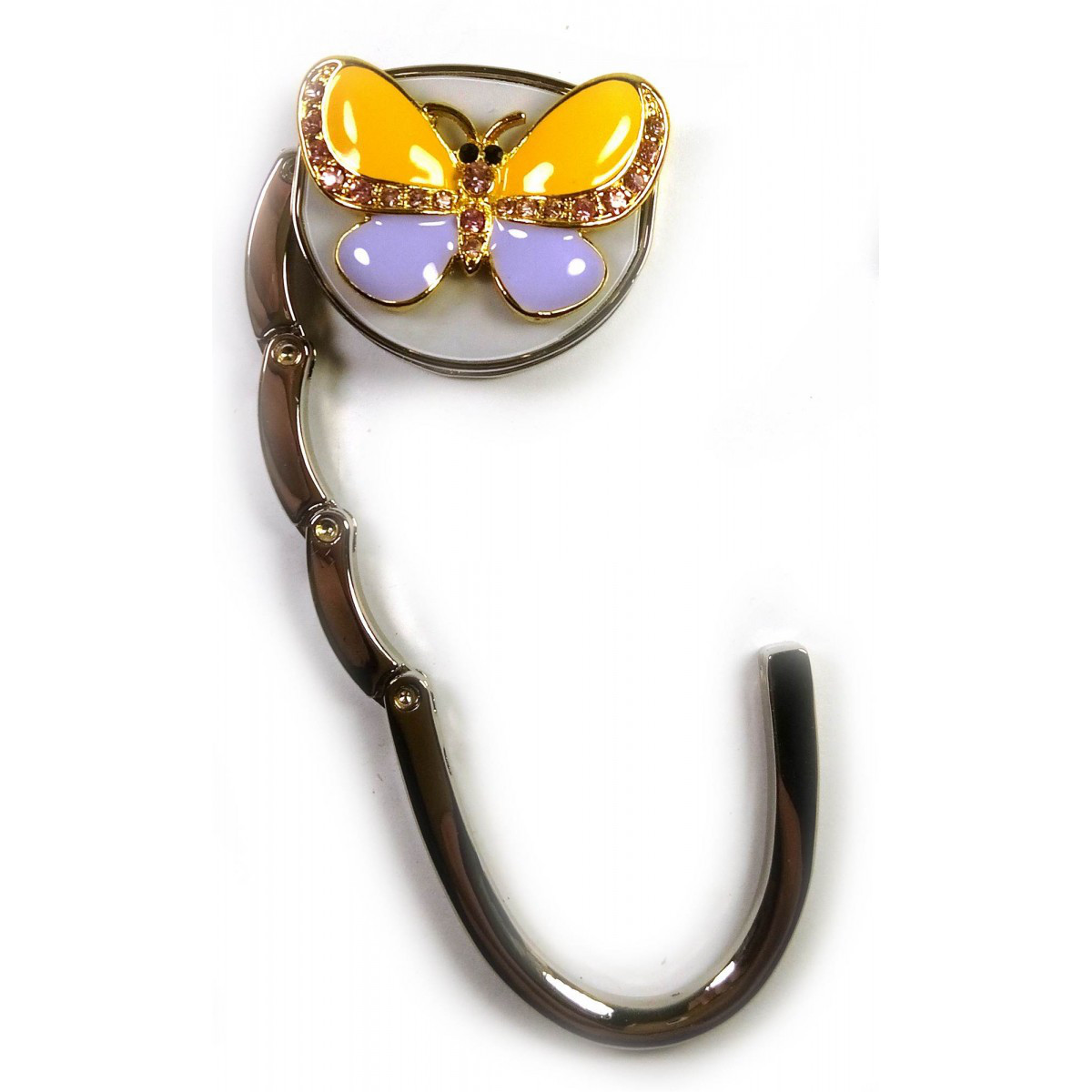 """Сумкодержатель для женской сумочки """"Бабочка-Замок"""" желто-фиолетовый 6,5х4,5х1,5 см"""