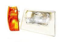Фара 1102 Украина (серый корпус) желт. повор. левая (завод)  (с ламп.)