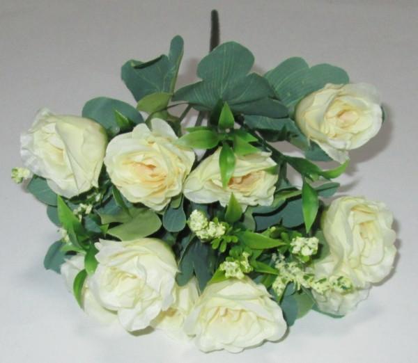 Букет роз с добавкой 27 см, молочные
