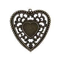 Подвеска Сердце, Металлический сплав, Античная бронза, Основа для кабошона, 5.9 см x 5.7 см
