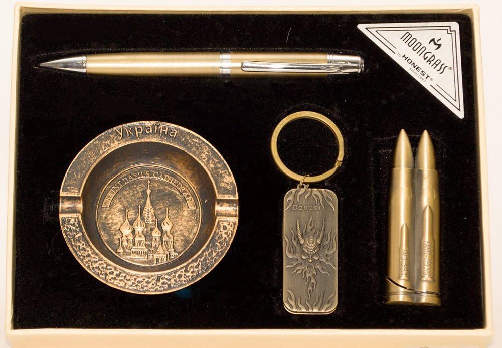 Подарочный набор Украина (зажигалка, пепельница, брелок, ручка)