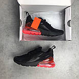Кроссовки Nike Air Max 270 blackred. Живое фото. Топ реплика