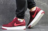Кроссовки мужские Nike Air Force (низкие), цвет - бордовый, материал - текстиль+сетка