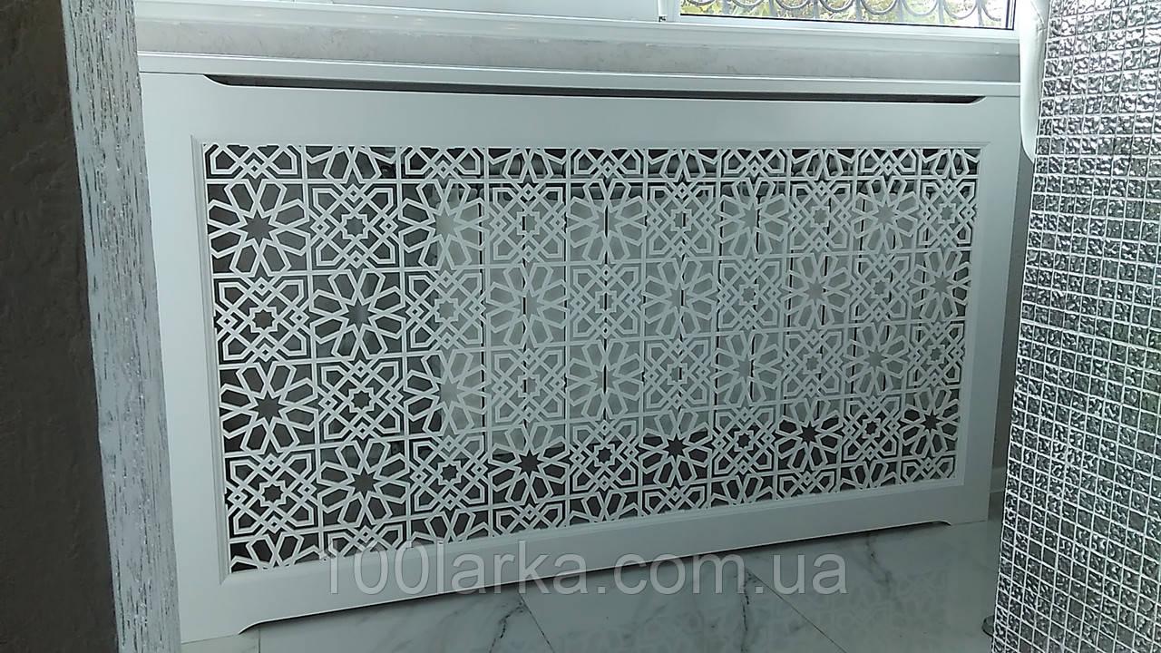 Экраны для батарей отопления из дерева, решетки декоративные №23