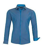 Рубашка синяя узор треугольник