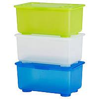 ГЛИС Коробка с крышкой, белый/светло-зеленый/синий, 17x10 см, 80098583, IKEA, ИКЕА, GLIS
