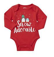 Детский яркий новогодний боди с длинным рукавом F&F для малышей, рост 62 см (0-3М)