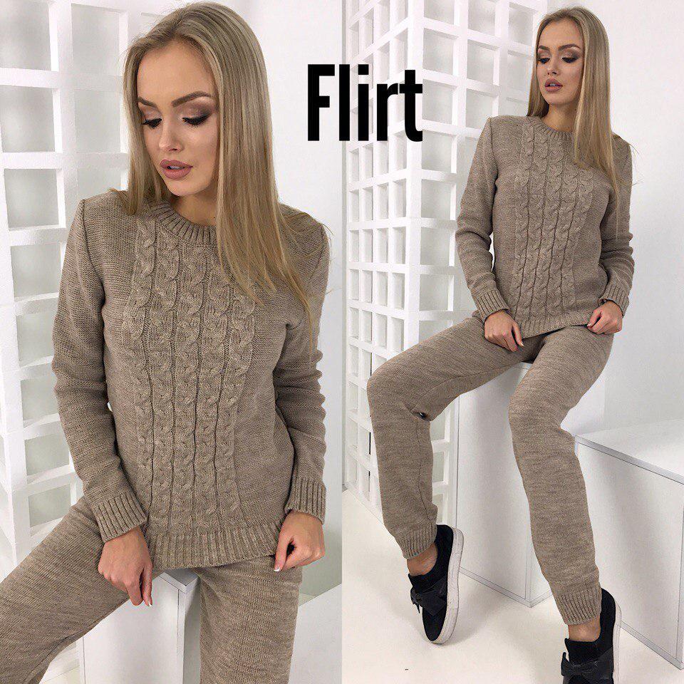 1b264cbd2ada Костюм теплый красивый женский свитер и брюки ажурная вязка 5 цветов DfL705