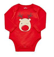 Детский яркий новогодний боди с длинным рукавом F&F для малышей, от 0 мес. до 9 мес.