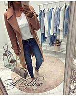 Женское стильное пальто с бусинами на карманах, фото 1