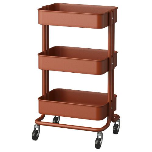 РОСКУГ Тележка,  красно-коричневая, 35x45x78 см, 50331762, IKEA, ИКЕА, RASKOG