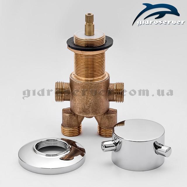 Смеситель переключатель J - 7032 для гидромассажной ванны, джакузи скрытого монтажа вид изделия в разобранном варианте.