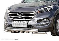 Защита переднего бампера модельная для Hyundai Santa Fe 2013-2016