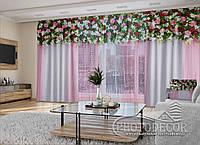 """3D - Фото Шторы и тюль """"Красивые цветочные ламбрекены"""" 2,5м*5,9м (карниз 4,9м)"""
