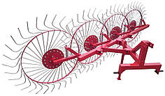 Грабли ворошилки Солнышко для трактора, минитрактора на 4 колеса (спица 6мм)
