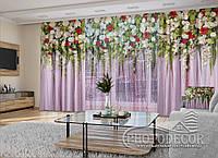 """3D - Фото Шторы и тюль """"Ламбрекены. Разноцветные цветы"""" (шторы 2,5м*2,9м, тюль 2,5м*3,0м)"""