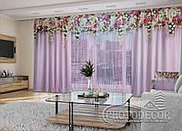 """3D - Фото Шторы и тюль """"Розовые ламбрекены из цветов"""" (шторы 2,5м*2,9м, тюль 2,5м*3,0м)"""