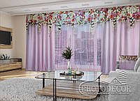 """3D - Фото Шторы и тюль """"Розовые ламбрекены из цветов"""" 2,5м*5,9м (карниз 4,9м)"""