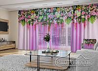 """3D - Фото Шторы и тюль """"Розовые цветочные ламбрекены"""" 2,5м*5,9м (карниз 4,9м)"""