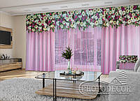 """3D - Фото Шторы и тюль """"Цветочные ламбрекены на розовом фоне"""" 2,5м*5,9м (карниз 4,9м)"""