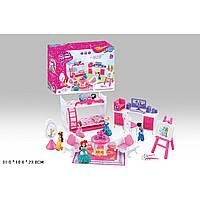 Мебель для куклы 5988-2 куколка,2-х ярусная кровать,кресла,столик,зерк,письм. стол. . в кор. 31*10*23