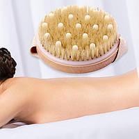 Щетка для массажа из натуральной щетины с силиконовыми шариками