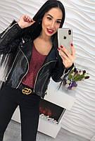 Женская стильная черная куртка из эко-кожи, фото 1