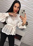Женская нежная блуза с поясом (3 цвета)
