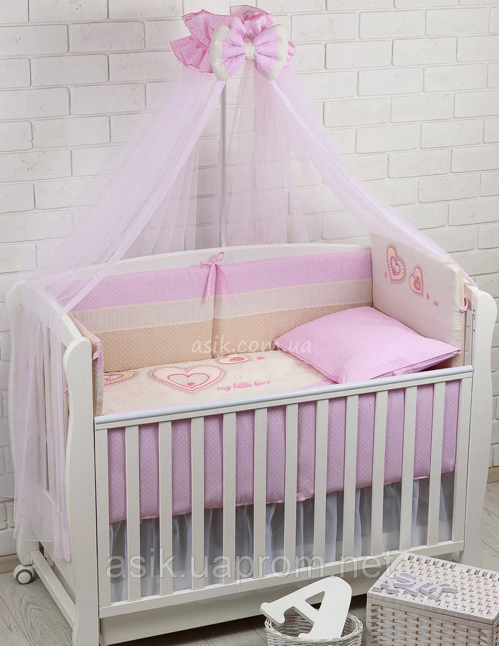Комплект постельного белья Asik с вышивкой Три сердца розового цвета 7 предметов (88-04)