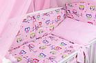 Комплект постільної білизни Asik Кольорові сови і горошок на рожевому тлі 8 предметів (8-243), фото 2