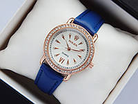 Женские наручные часы Rolex, золотистого цвета, белый циферблат, на кожаном ремешке, со стразами на корпусе, фото 1