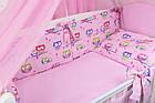 Комплект постільної білизни Asik Кольорові сови і горошок на рожевому тлі 8 предметів (8-243), фото 4