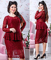 Красивое гипюровое платье больших размеров с баской