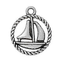 Подвеска яхта, Кораблик, Лодка, Цинковый сплав, Античное серебро, 19 мм x 16 мм