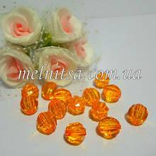 Бусины пластиковые, граненные, 7 мм, цвет св.оранжевый, 30 шт.