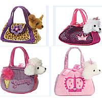 Мягкая игрушка CLG17051 собачка в сумочке, 4 вида, в пакете 23*8*16 см