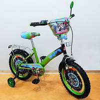 Детский двухколенсый Велосипед со страховочными колесами TILLY Мотогонщик 16 T-216212 green + black