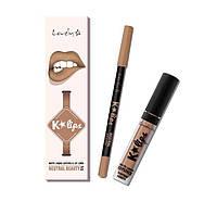 Набор помада и карандаш для губ Wibo Lovely K-lips Matte Liquid - Neutral Beauty