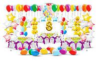 Оформление зала воздушными шарами к 8 марта