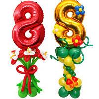 Композиция из воздушных шаров к восьмому марта стойка букет 8 марта