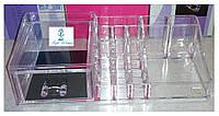 Органайзер акриловый для косметики с выдвижным ящиком, контейнер для аксессуаров, кистей, косметики 17 секции