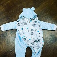 Человечек для новорожденных - голубой плюш, фото 1