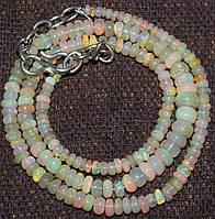 Бусы, ожерелье - натуральный Эфиопский опал. Бусы с огненным опалом.
