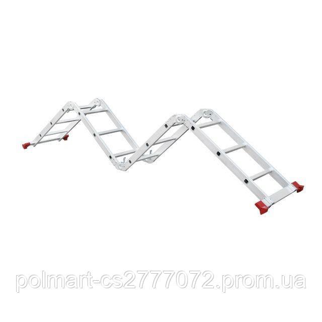 Лестница алюминиевая мультифункциональная трансформер 4x3 ступ., 3,50 м INTERTOOL LT-0030