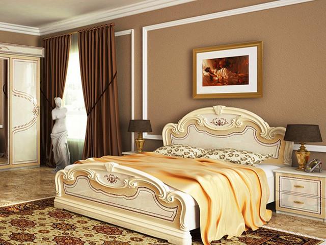 Ліжко з ДСП/МДФ в спальню Мартіна 1,8х2,0 з каркасом беж Миро-Марк