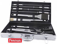 Набор инструментов для БАРБЕКЮ Fissman (Алюминиевый чемодан, 10 приборов из нержавеющей стали)