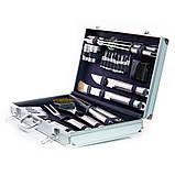 Набор инструментов для БАРБЕКЮ Fissman (Алюминиевый чемодан, 10 приборов из нержавеющей стали), фото 2